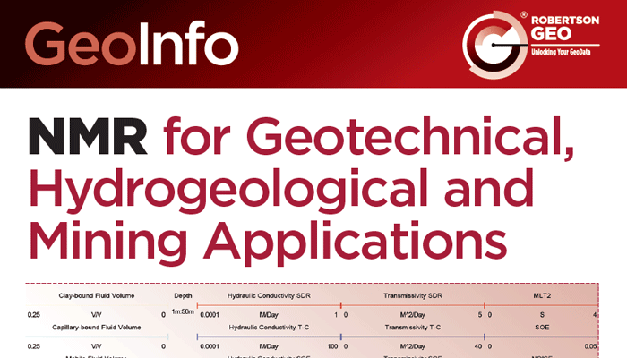 READ: Article on NMR for Geotechnical, Hydrogeological and Mining Applications from Robertson GEO
